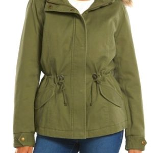 Sebby Sherpa Hooded Army Green Coat Parka